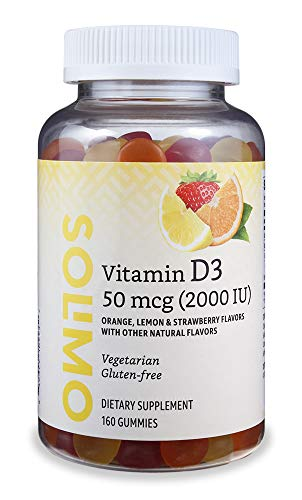 Amazon Brand - Solimo Vitamin D3 2000 IU, 160 Gummies (2 Gummies per Serving)