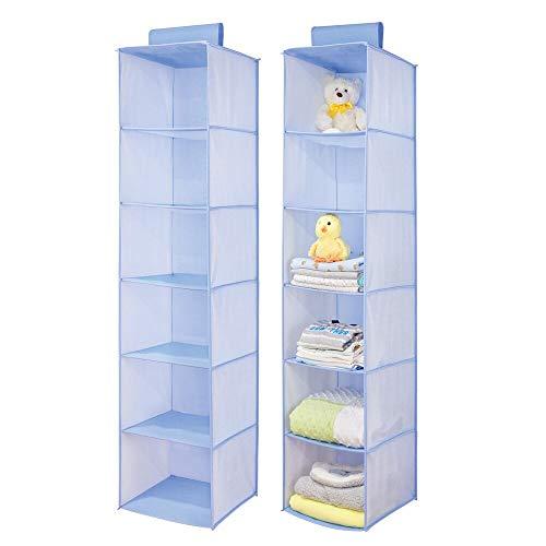 mDesign Juego de 2 estanterías Colgantes de Fibra sintética – Práctico Organizador de armarios para Barra con 6 estantes – Zapatero Colgante Plegable con Dibujo de Espiga para Cuarto Infantil – Azul