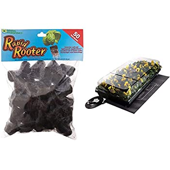 General Hydroponics Rapid Rooter Plant Starters 50 Plugs Black & Jump Start CK64050 Germination Station w/Heat Mat Tray 72-Cell Pack One Size 2  Dome
