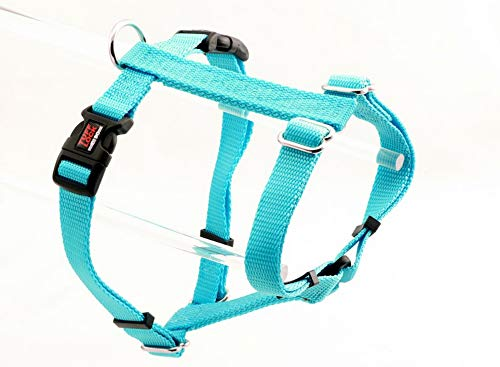 Tuff Lock Durable Figure-H Fully Adjustable Nylon Harness for Dog/Puppy, Made in USA - Figure H-Solids (Turquoise, M)