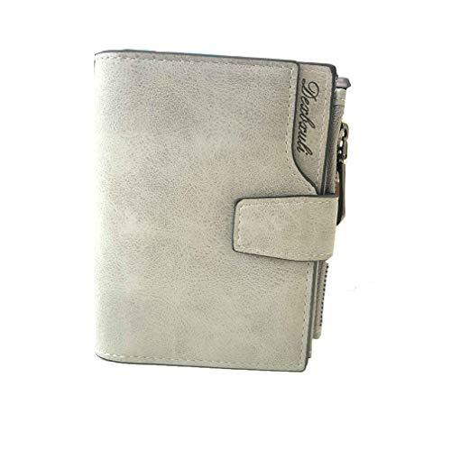 Vintage Design Zipper Hasp Wallet Women Leather Female Purse Lady Matte Clutch Grey