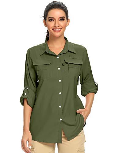 Women's UPF 50+ UV Sun Protection Safari Shirt, Long Sleeve Outdoor Cool Quick Dry Fishing Hiking Gardening Shirts (5055 Army Green S)