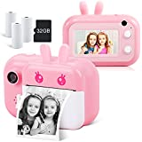 Instant Camera for Kids Camera for Girls 3.0' Touch Screen Kids Digital Camera Selfie Video Camera for Kids 3 4 5 6 7 8-10 12, Toddler Camera Children Toy Camera with Print Paper and 32G TF Card, Pink