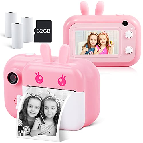 """Instant Camera for Kids Camera for Girls 3.0"""" Touch Screen Kids Digital Camera Selfie Video Camera for Kids 3 4 5 6 7 8-10 12, Toddler Camera Children Toy Camera with Print Paper and 32G TF Card, Pink"""