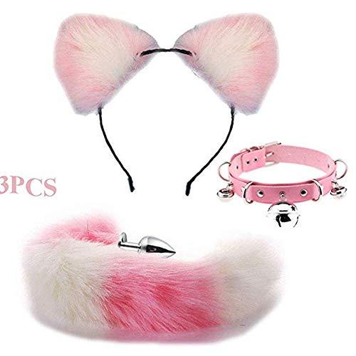 Rosa con blanco lindo gato tocado collar gargantilla B-ütt P-l-ǔ-g cola de zorro para Halloween fiesta de graduación disfraz Cosplay presente (Salud y Belleza)