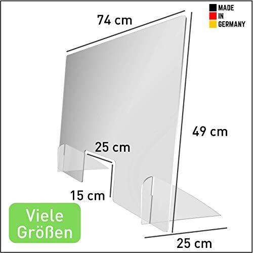 Gentle North Niesschutz Thekenaufsatz (49 cm hoch) - Kasse, Tresen und Empfang - Hustenschutz mit Durchreiche - Kunststoffglas - Lebensmittelecht - (49 x 74 cm)