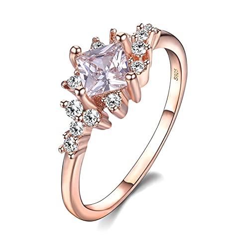 Anillos de boda románticos de espinela de oro rosa para mujer, anillo de dedo sólido, joyería de fiesta de compromiso de aniversario, 9 blancos