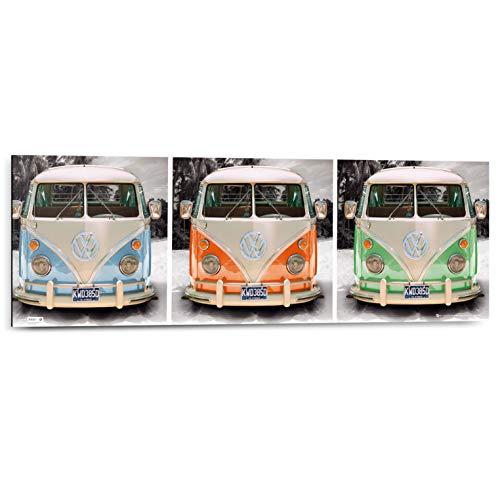 Schilderij Deco Panel Volkswagen busjes - 90 x 30 cm