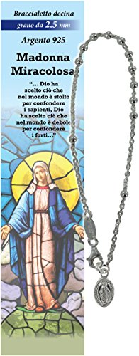 Pulsera Rosario Virgen de los Milagros con 11 cuentas de plata de 2,5 mm