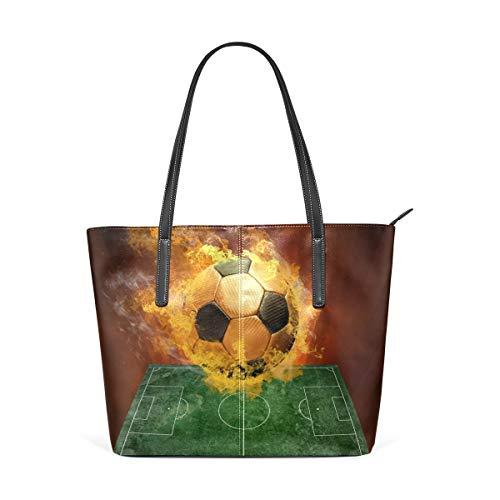 XGBags Custom Borsa a tracolla in pelle PU da donna Firing Football On Grass Court Womens Purse PU Leather Shoulder Tote Bag