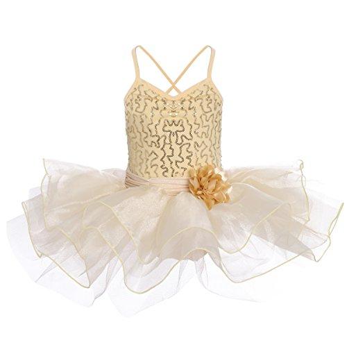 OwlFay Girls Sequins Camisole Ballet Dance Tutu Dress Glittering Sleeveless Leotard Flower Ruffle Skirt Gymnastics Skating Ballerina Dance Wear Costume Champagne 4-5Y