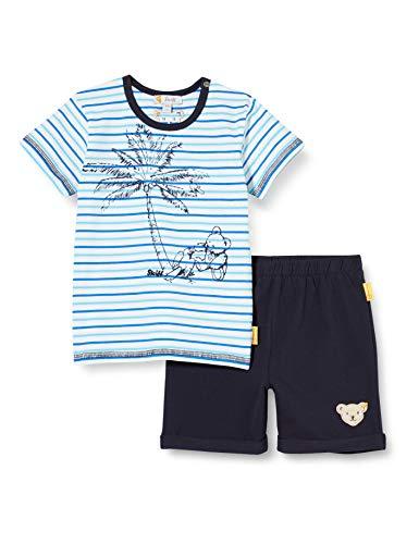 Steiff Set Shorts+t-Shirt Ensemble, Bleu (Black Iris 3032), 58 (Taille Fabricant: 056) Bébé garçon