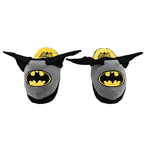 Stompeez Animated Batman Plush Slippers - Ultra Soft and Fuzzy - Wings Flap as You Walk - Large Grey