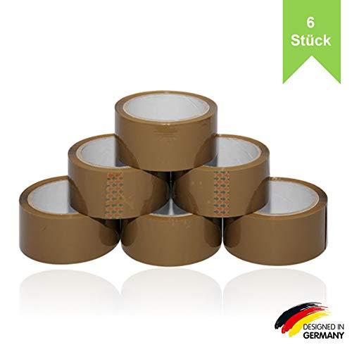 Paketband braun leise abrollend 50mm x 66m (6 Rollen) - Braunes Paketklebeband extra stark für alle Kartons und Pakete - Packklebeband als Rollenset - Umzug Klebeband ideal für Umzugkartons
