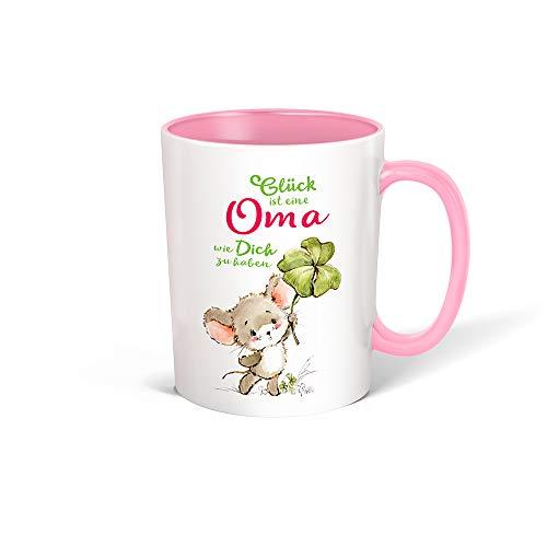 Trötsch Tasse Glück Oma weiß rosa: Kaffeetasse Teetasse Geschenkidee Geschenk (Keramiktasse / Glücksmaus)
