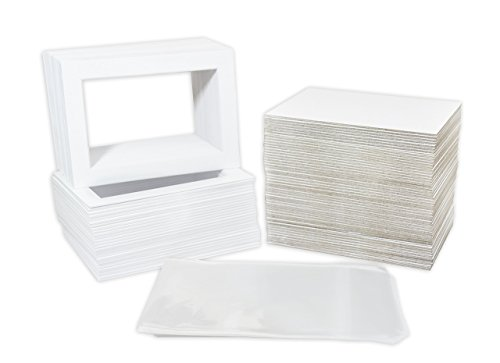 Pack of 100 5x7 WHITE Picture Mats Mattes with White Core Bevel Cut for 4x6 Photo + Back + Bags