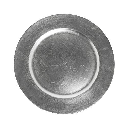 Decorative Plastic Charger Plates - Distressed Metallic Silver Effect - 33cm Diameter - Set of 6 Plates
