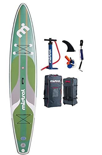 Mistral Spirit - Tabla de remo hinchable (13,2 x 29 cm, tecnología DSFL, tabla de surf de remo, SUP, incluye SUPwave.de Coil-Leash Stand Up Paddle Board iSUP