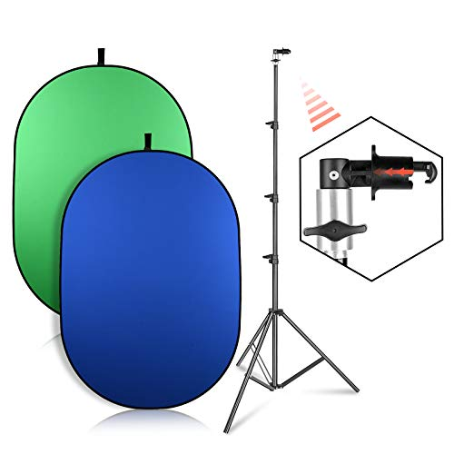 EMART Green Screen Backdrop with Stand, 5x6.5ft Pop Up Collapsible Background, 2-in-1 Blue Greenscreen for Chair, Live Streaming