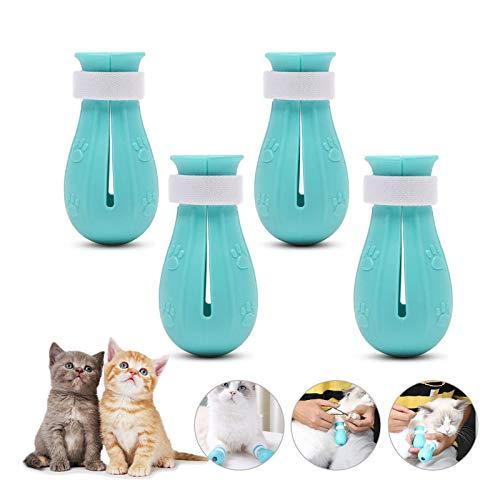 HPiano 4pcs Kratzfeste Katzenstiefel Schuhe, Katzen-Anti-Kratzstiefel,zum Baden, Kratzfest, Nagelschutz, Pfotenschutz, Katzenkrallen-Abdeckung für Zuhause, zum Baden und Rasieren