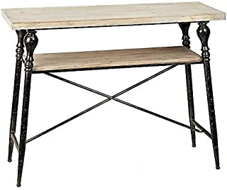 Side Console Table, Distressed Natural Wood Top with Black Iron Metal Frame and one (1) Storage Shelf | Industrial Decor Accent, End or Coffee Table, Entryway of Living Room | 42x15.5x32.5 Inches