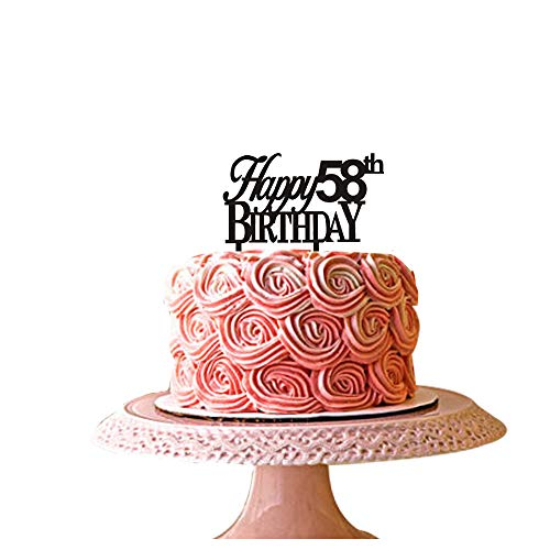 Happy 58th birthday cake topper for 58th birthday party décor black acrylic santonila