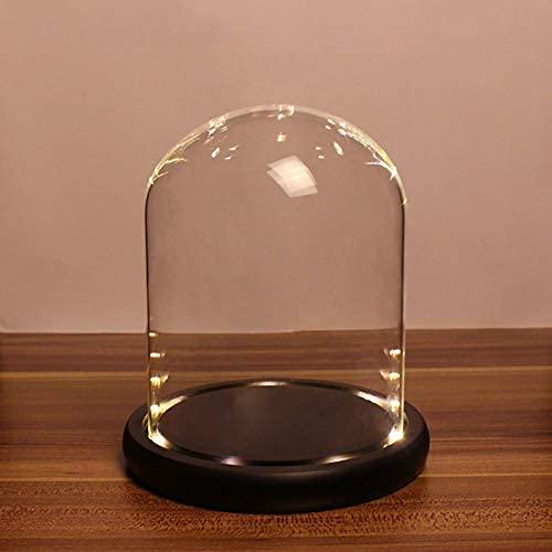 Cúpula de cristal Cloche con luz LED de hadas antiguo Bell jar Display Dome caso con base de madera h5.11d3.94 pulgadas