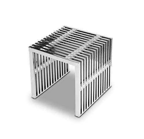 NEUERRAUM Edelstahl Bauhaus Hocker Länge 40 x Tiefe 40 cm x Höhe 42 cm / 15 kg. Mit Acryl Distanzstücken. Sehr Edel! Passende Sitzbank, Couchtisch und Sideboard lieferbar.