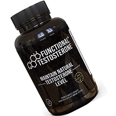 Functional Testosterone Booster – with Natural Premium ZMA Zinc Picolinate Supplement, Pure Magnesium, Organic Maca Powder, D Aspartic Acid, Ginger, Vitamin D - Libido Booster, Mens Health Vitamins by FitStamp
