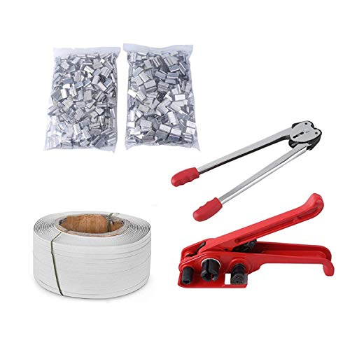tonchean Pallet Parcel Strapping Packing Machine Kit Banding Roll & 1000 Seals Clips Kits