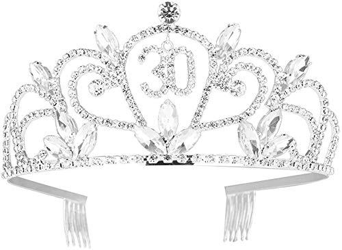 XIHEJD Crown Tiara, Crown Headband,Birthday Decoration,Wedding Headdress ,Crystal Tiara 30th Birthday Bling Rhinestone Crown for Hair Decoration