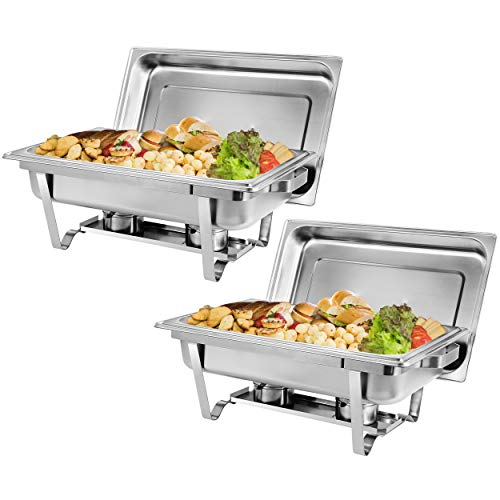 ZENY Pack of 2 Full Size Stainless Steel 8 Quart Chafing Dish
