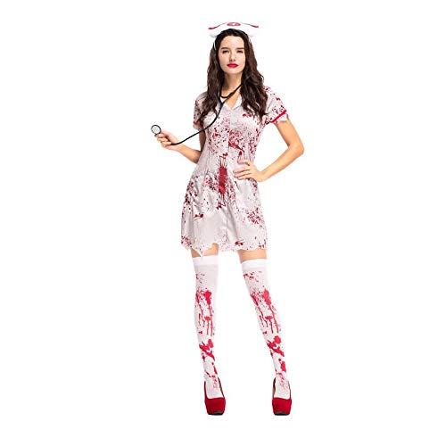 Teen Girls & Women Halloween Horror Nurse Zombie Costume Scary Bloody White Dress Uniform Fancy Clothing Outfit La