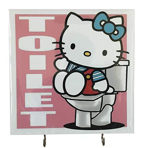 Agility Badezimmer Wand Aufhänger Hat Tasche Schlüssel selbstklebend Holz 2Haken Vintage Pink Hello Kitty WC 's Foto