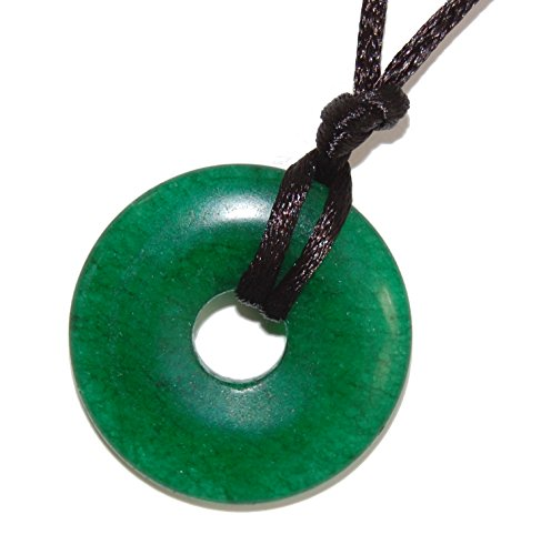 Steampunkers USA Stone Wheelies Donut - 30mm Doughnut Ring Classic New Jade (Aventurine) Green - 20-22 Inch Adjustable Black Cord – Dyed Crystal Gemstone Collectibles Carved Necklace Handmade Charm