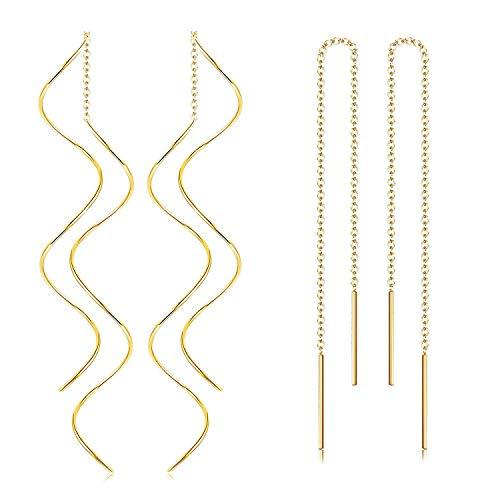 Finrezio 2 Paare Quaste Einfädler Ohrringe Gebogene Welle Ohrring Lange Baumeln Ohrringe für Damen Mädchen Gold Ton