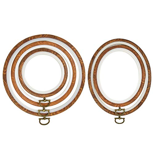 QLOUNI 5 Pcs Embroidery Hoops Set Cross Stitch Hoop Ring Imitated Wood Display Frame-Circle and Oval Hand Embroidery Kits for Art Craft Sewing