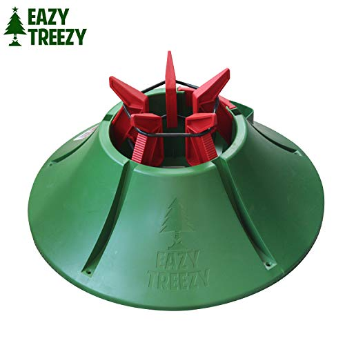Allstar Innovations Eazy Treezy Drop-in Christmas Tree Stand- Fits Living Trees up to 10 FT Tall, No Spill Waterspout, One Person Fast Assembly, Green