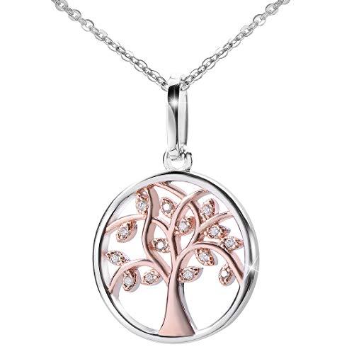 Materia #KA-404 Rose gouden ketting levensboom 925 zilver met zirkonia gerhodineerd bicolor 42 + 5 cm
