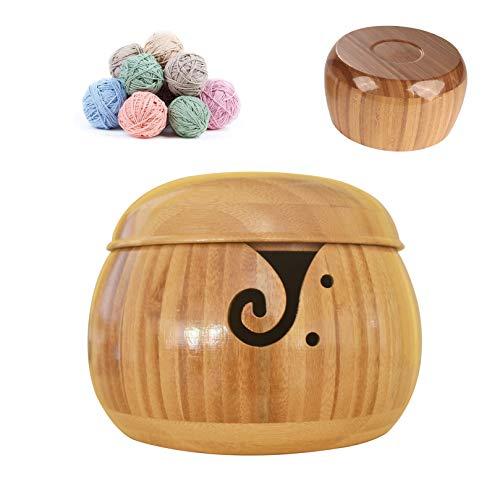 Holz sammlung Cuenco de Bambú para Lana con Tapa Desmontable, Hecho a Mano Cuenco de Hilo para Tejer y Hacer Ganchillo, Inicio Tejido Crochet Accesorios, Tazón Porta Hilos, 15cm #6