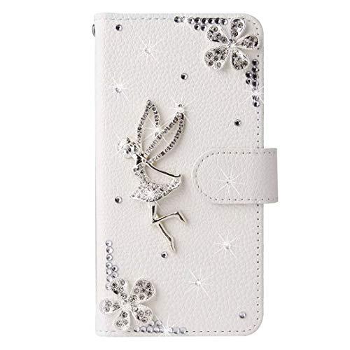 Huawei P30 Lite Hülle 3D Handmade Gems Crystal Glitter Pflaume Love Girly Wallet Handyhülle Stoßfest PU Leder Stand Magnetic Flip Notebook Schutzhülle für Huawei P30 Lite Angel Girl