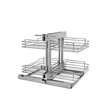 Rev-A-Shelf 5PSP-15-CR - 15 in. Blind Corner Cabinet Pull-Out Chrome 2-Tier Wire Basket Organizer