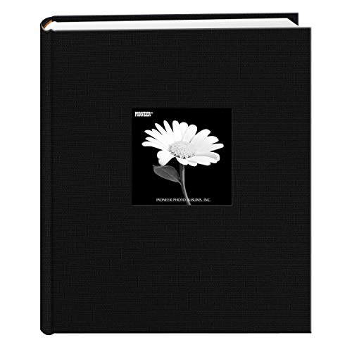 Fabric Frame Cover Photo Album 200 Pockets Hold 5x7 Photos, Deep Black