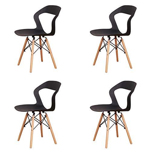 Injoy Life - Sillas de comedor modernas, sillas caladas, asiento de plástico, sillas de salón, comedor, oficina, sala de reuniones, restaurante, juego de 4 unidades, color negro