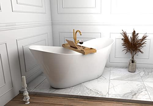 ECOLAM exklusive freistehende Badewanne Standbadewanne + Ablage Bambus moderne Wanne freistehend Viya + Ablaufgarnitur Click Clack Design Mineralguss 160x70 cm glamour Luxus weiß