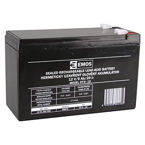 EMOS B9675 Wartungsfreier Bleiakku/Bleiakkumulator für Kinderfahrzeuge, USV-Anlagen, 12V, 9 Ah, faston 6,3 mm, 12 V