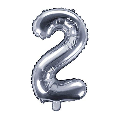 DekoHaus Folienballons Buchstaben / Zahlen Höhe 35 cm Farben: Gold oder Silber (2, Silber)