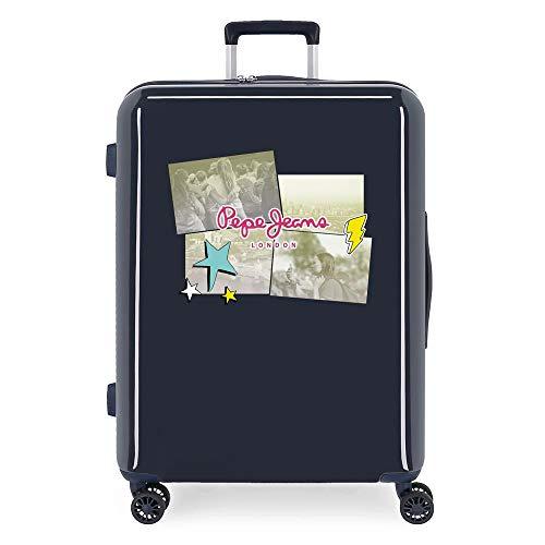 Pepe Jeans Estela Medium Suitcase Blue 48 x 70 x 26 cm Rigid ABS Integrated TSA Closure 81L 2 kg 4 Double Wheels