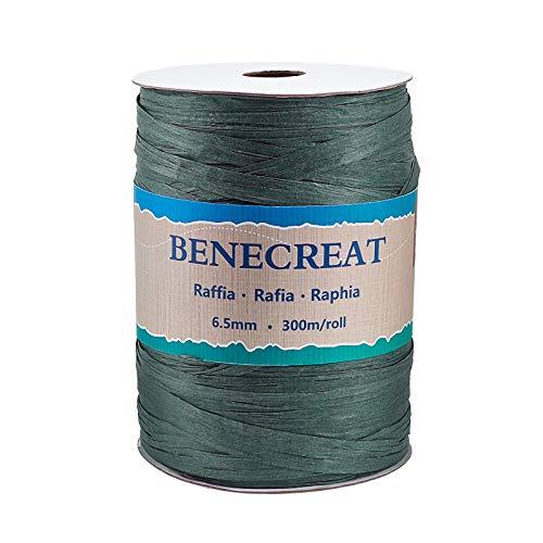 BENECREAT 300m 6.5mm Cinta de Rafia Cinta de Papel Craft Verde Oscuro Cuerda de Rafia para Embalaje de Regalo, Flor, Decoración de Tejido de Artesanía