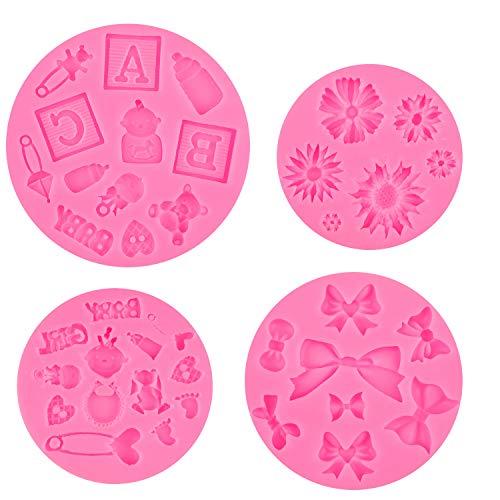 HOWAF 4pcs ABC Baby Mädchen DIY Silikon Formen für Fondant Schokolade Torten Kuchen Muffin, 3D Baby Silikonform Set für Mädchen Babyparty Taufe Kindergeburtstag